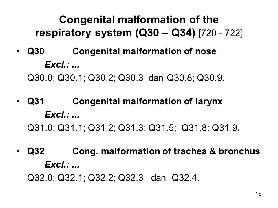 Congenital malformation of the respiratory system (Q30 – Q34) [720 - 722]